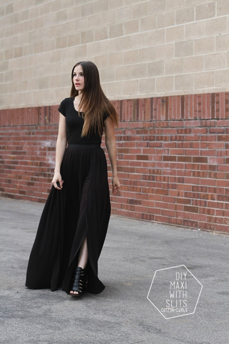 Maxi skirt with slits, tutorial by Cotton And Curls DIY blog