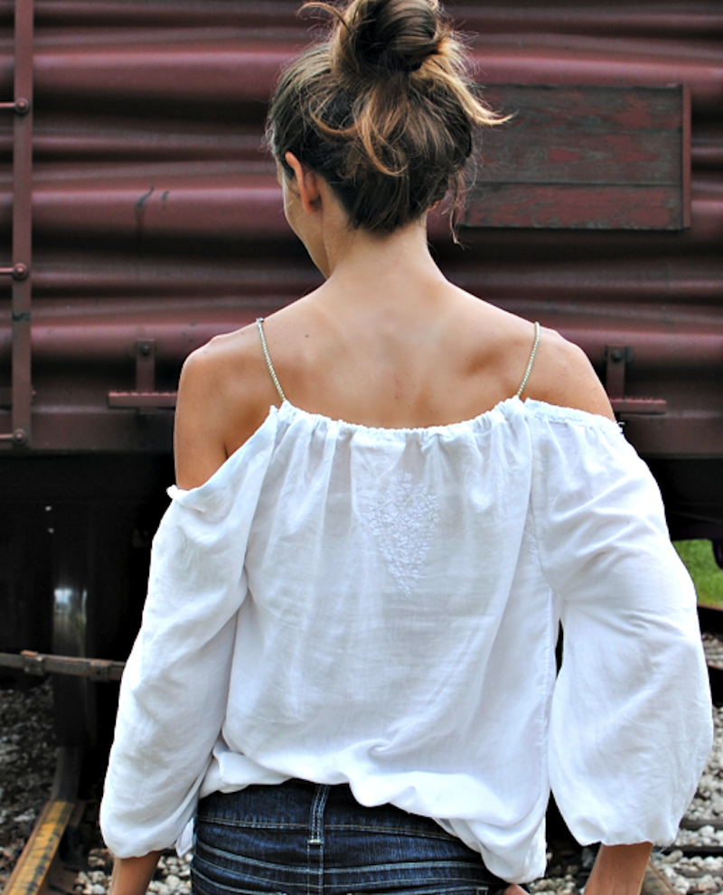 Trash To Couture offshoulder shirt tutorial 1
