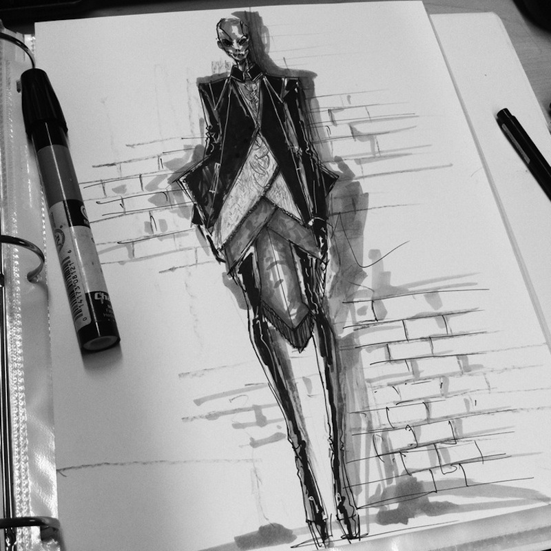 fashion design drawing, marker illustration; fashion sketch :: Peter Do
