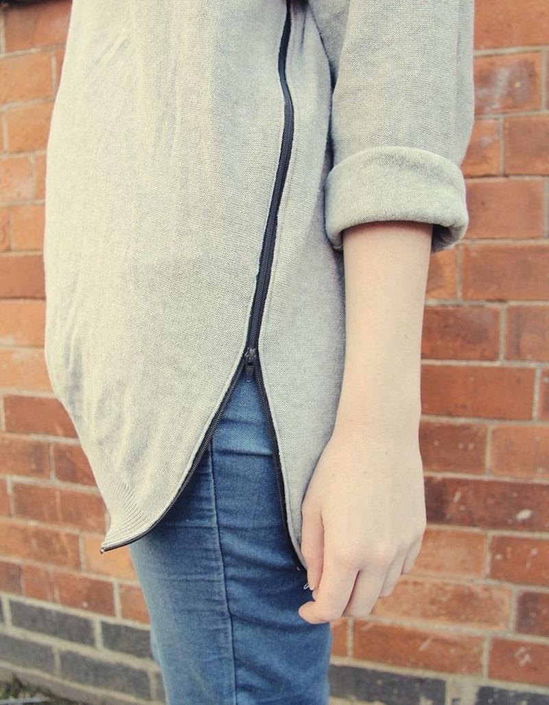 zipper sweater tutorial fall for DIY