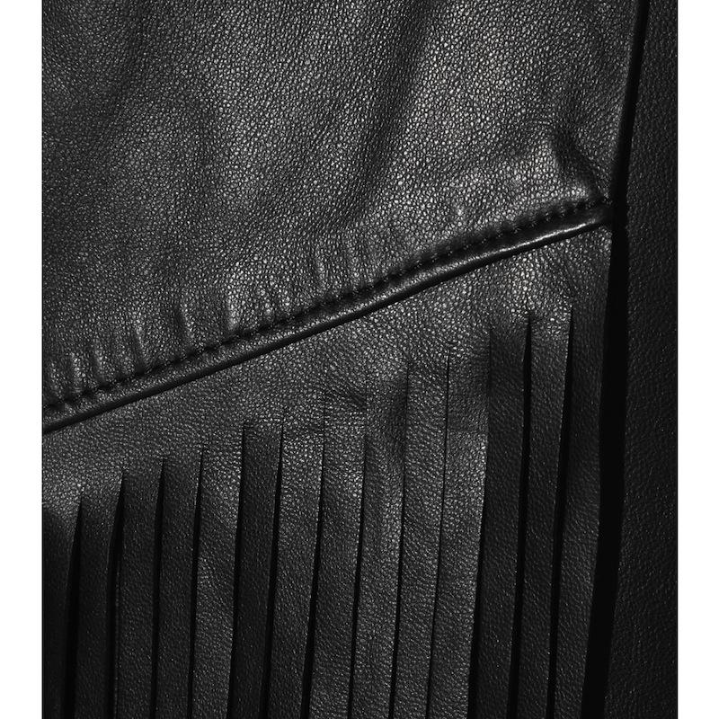 fringe leather skirt detail