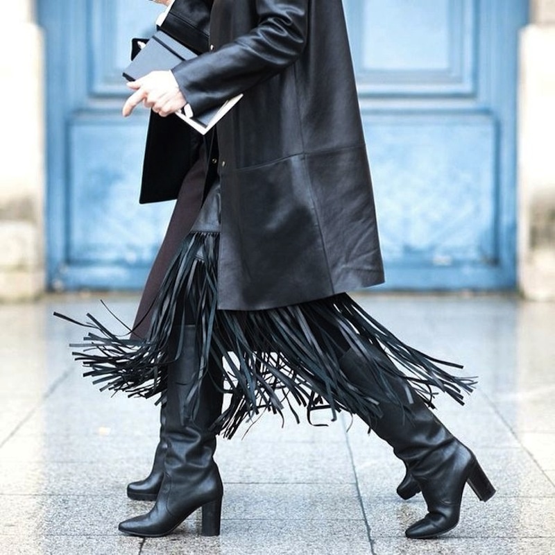 fringe leather skirt with boots
