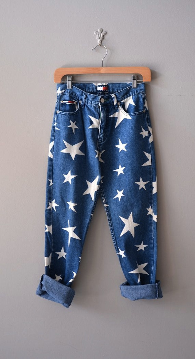 90´s star printed jeans denim