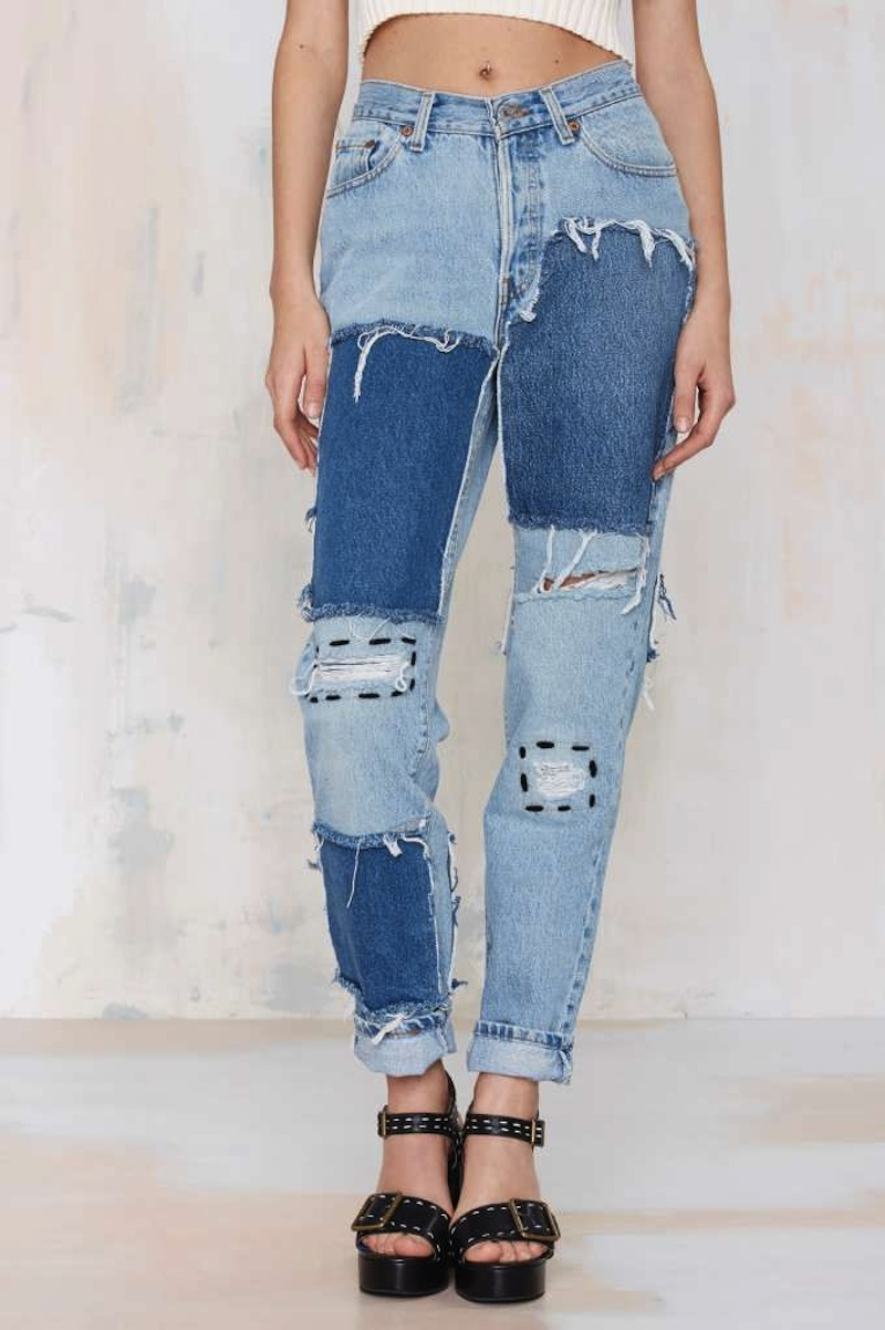 patchwork denim jeans diy