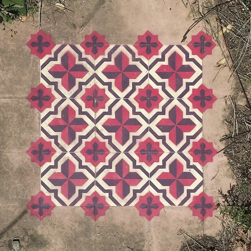 spray painted moroccon tiles 1