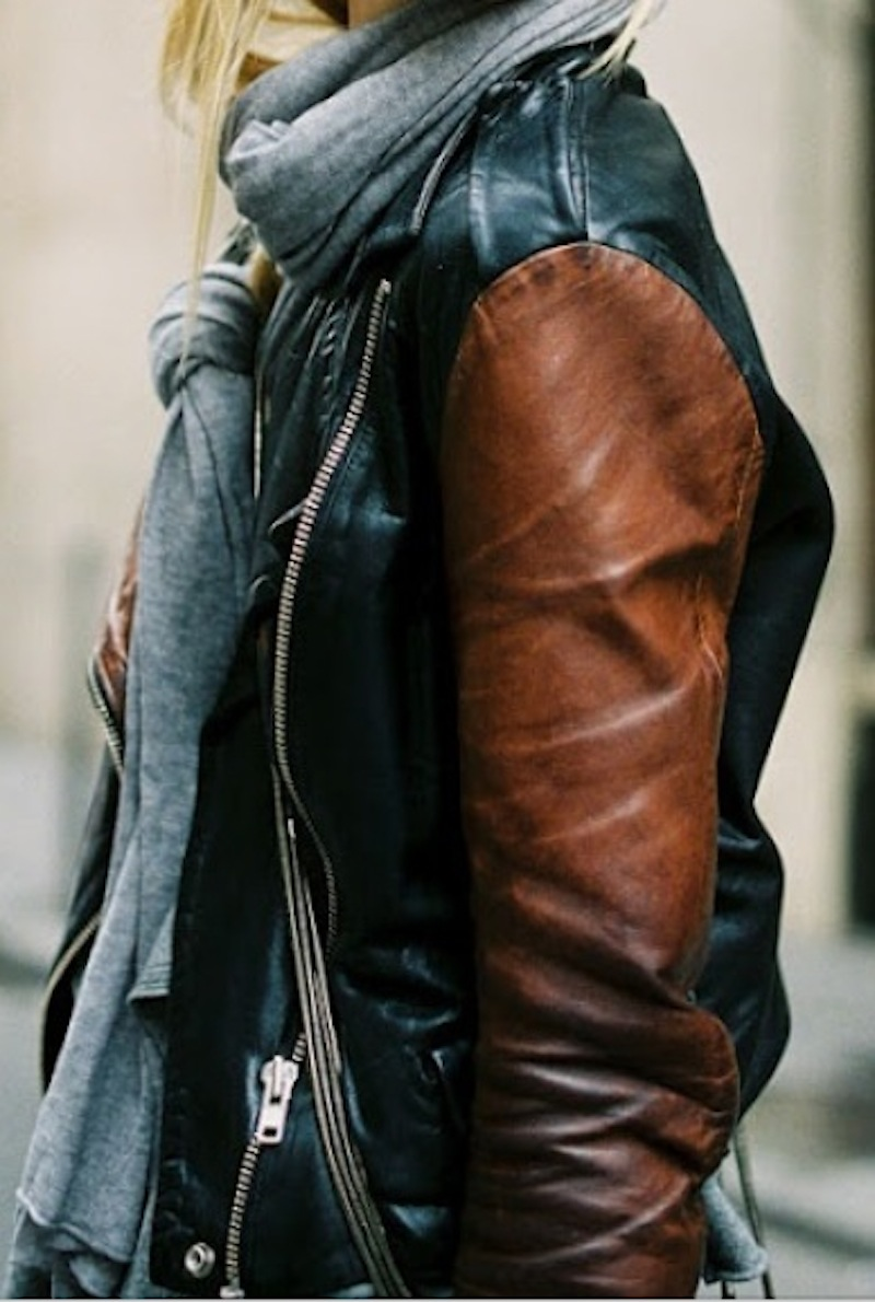 black brown leather jacket street fashion