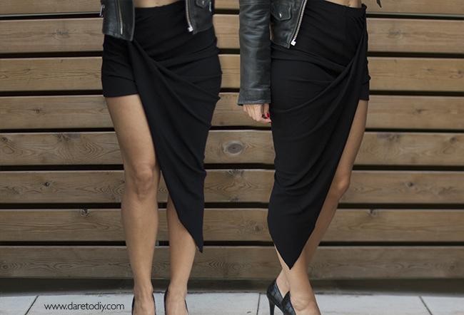 DIY 2 helmut lang skirt falda asimetrica