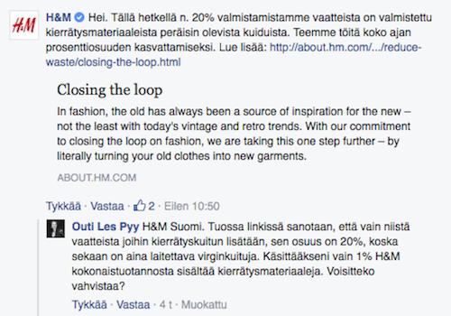 H&M kommentti kierrätysmateriaalit 1