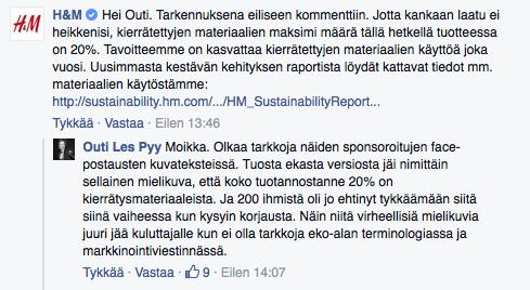 H&M kommentti kierrätysmateriaalit 2